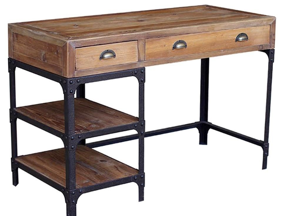 Luca Reclaimed Wood Rustic Iron Industrial Loft Desk .