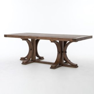 Lugo Farmhouse Trestle Double Pedestal Dining Table 87 ...
