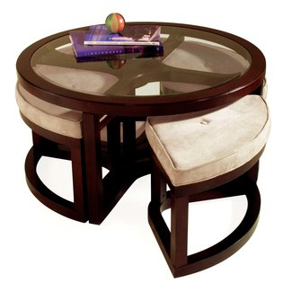 Magnussen T1020 Juniper Wood Round Coffee Table with 4 ...