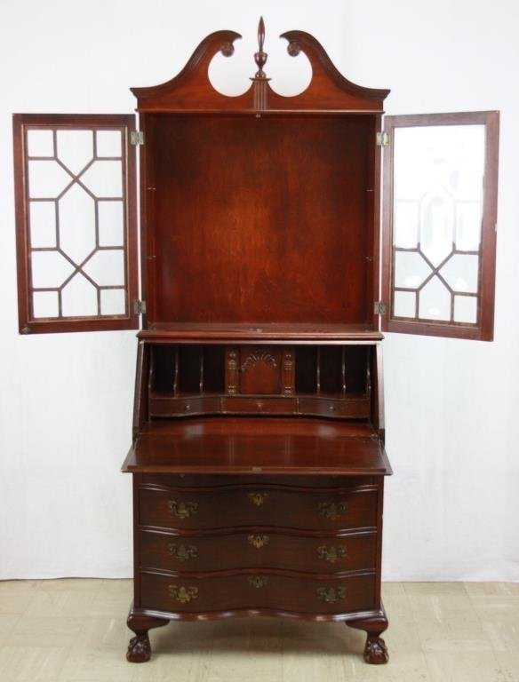 Beau Mahogany Secretary Desk With Hutch Top : Lot 68