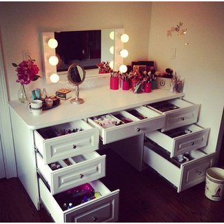 Makeup Vanity Table Set With Mirror And Lights - Makeup