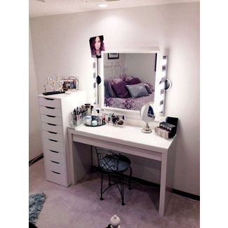 Makeup Vanity With Lights Ikea Table-vanity Set Stool In ...