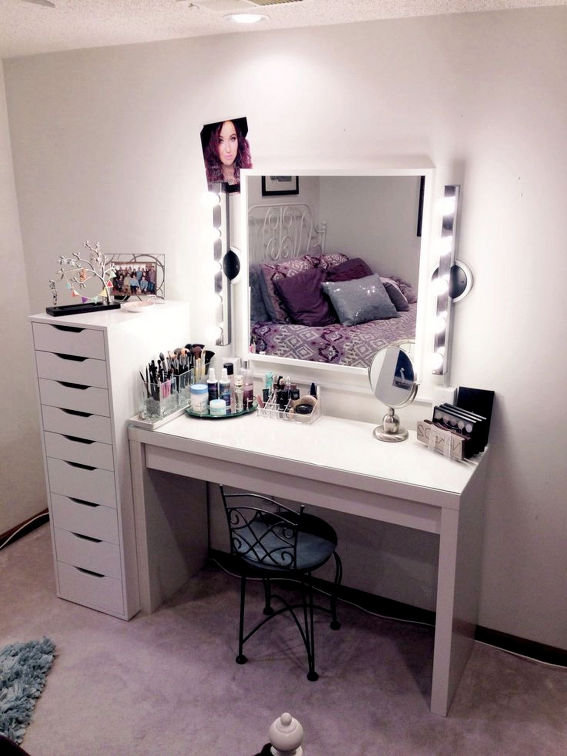 Genial Makeup Vanity With Lights Ikea Table Vanity Set Stool In ..