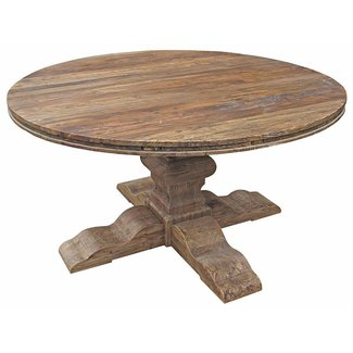 Maris French Country Reclaimed Elm Round Dining Table ...