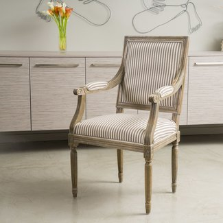 Martin Weathered Dark Coffee Stripe Arm Chair