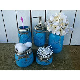 Mason Jar Bath Set of 5 | Turquoise Mason Jar Bathroom Vanity Set | Rustic Distressed Farmhouse Decor Bathroom Soap Dispenser | Shabby Chic Vanity decor | Burlap Bowtique