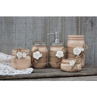 Mason Jar Bathroom Set, Earth Tones, Neutral, Brown ...