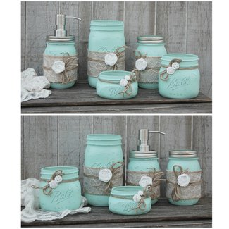 Mason Jar Bathroom Set, Mint Green, Shabby Chic, Soap ...