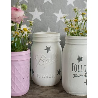 Mason Jar Shabby Chic rosa, klein &