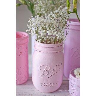 Mason Jar Shabby Chic, rosa &