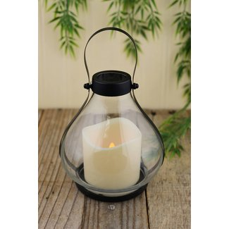 Metal & Glass Schoolhouse Lantern with Battery Operated Candle