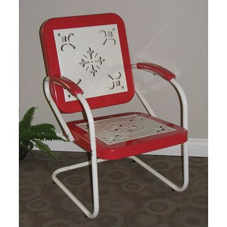 Metal Retro Chair in Red Coral and White