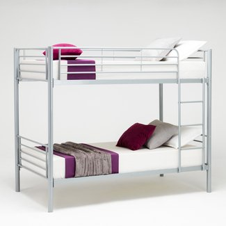 Metal Twin Over Twin Size Bunk Bed Frame with Stairs ladder,Space-Saving Design Ladder Kids Teens Adult Dorm Bedroom Furniture ( Silver)