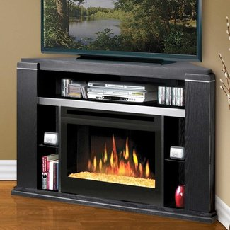 Modern Fireplace Insert And Black Corner Tv Stand Console ...