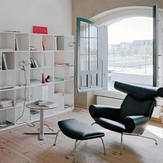Modern Hans Wegner Ox Chair and Ottoman Replica in Italian