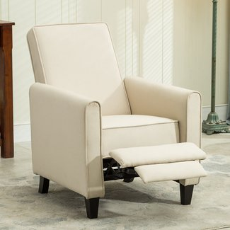 Modern Upholstery Accent Recliner Chair with Footrest, Sturdy Hardwood Frame, Small Spaces, Comfortable and Functional Chair, Home Furniture, Living Room, Family Room, Office, Gray Color