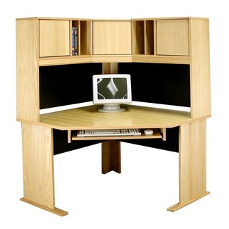 Modular Real Oak Wood Veneer Furniture Computer Desk with Hutch
