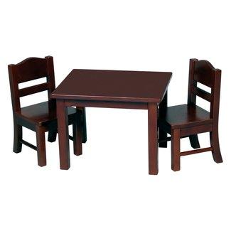 Montessori Materials: Doll Table and Chair Set - Espresso