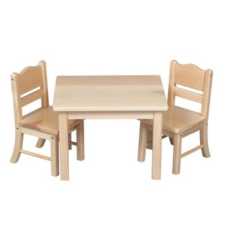 Montessori Materials: Doll Table and Chair Set - Natural