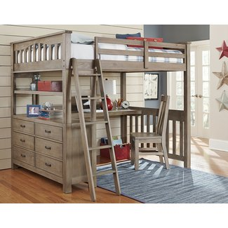 NE Kids Highlands Full Loft Bed with Desk and Shelf