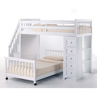 NE Kids Schoolhouse Stairway Loft Bed with Chest End ...