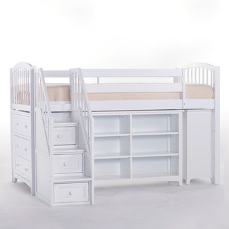 NE Kids Schoolhouse Storage Junior Loft Bed with Stairs ...