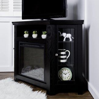 New 4 Foot Wide Fireplace TV Stand-Corner Unit-Black Finish