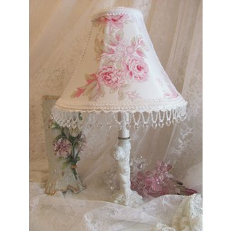 "NEW 8.5"" LAMP SHADE shabby PINK Rambling Rose Simply"