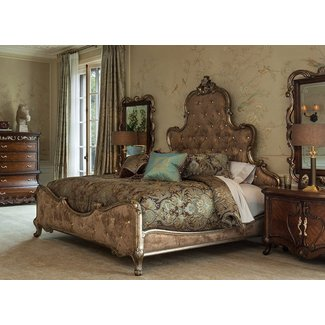 NEW French Provincial Platine de Royale Queen Panel Bed in Light Espresso by Michael Amini