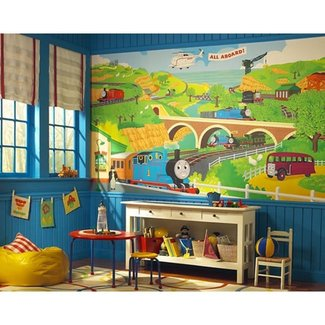 New XL THOMAS THE TANK ENGINE WALL MURAL Train Room