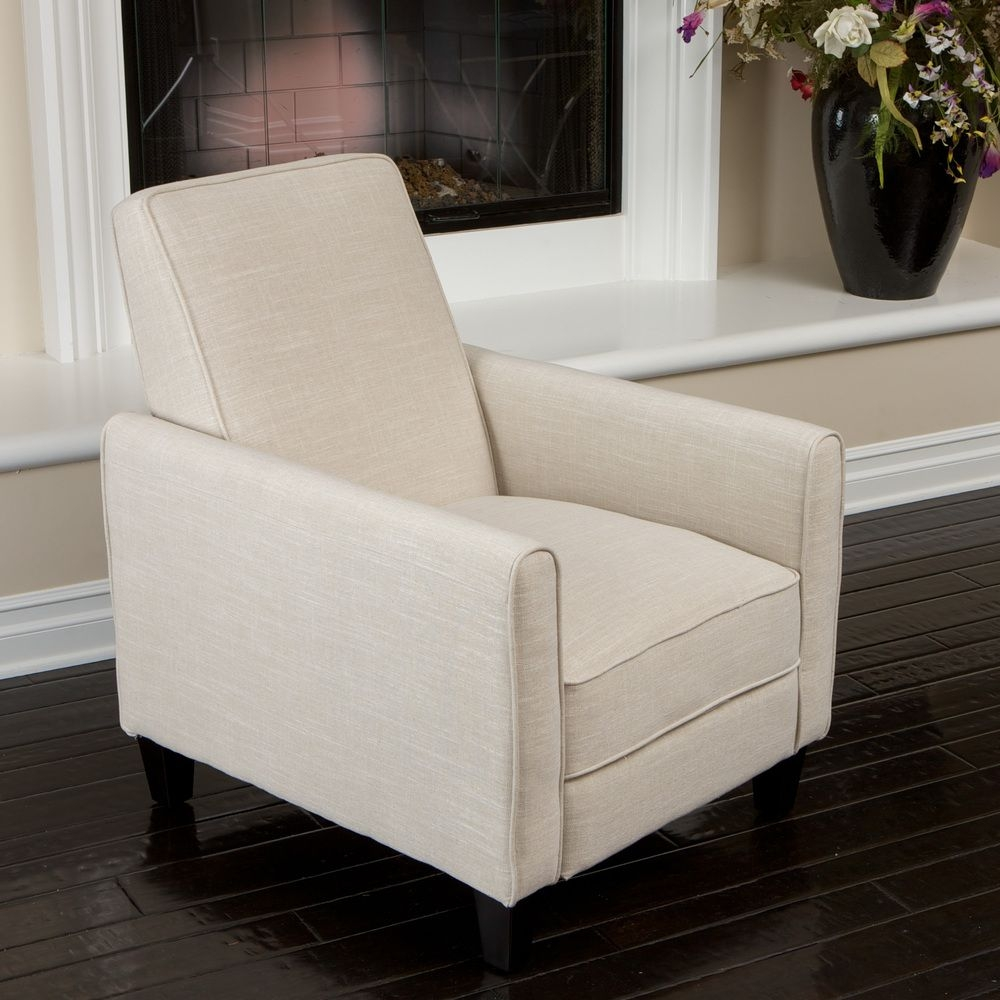 Noble House Delouth Recliner Club Chair in Light Beige & Recliners for Small Spaces - Up to 70% Off - Visual Hunt