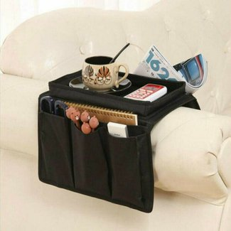 NONO Arm Rest Organizer with Table-Top, Sofa Couch Chair Armrest Caddy Pocket Organizer Great for Ipad, Remote, Game Controller, Newspaper, Book, Cups, Black