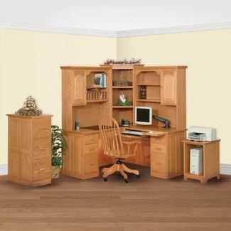 Oak Corner Computer Desk With Hutch - Oak Corner Computer