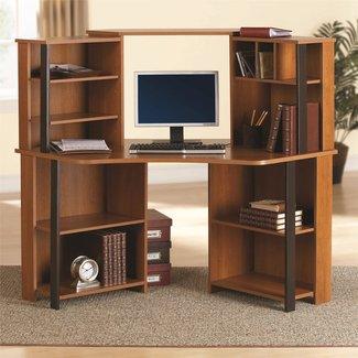 Office Corner Computer Desk With Hutch Workstation Storage ...