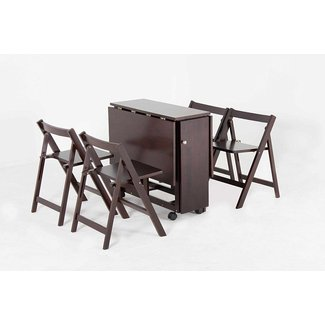 "Oliver Smith - 4 Person 48"" x 32"" - Solid Wood - Space Saving Drop Leaf Table Set - 5 Piece Set - 1 Table - 4 Folding Chairs - Espresso - sw707crs"