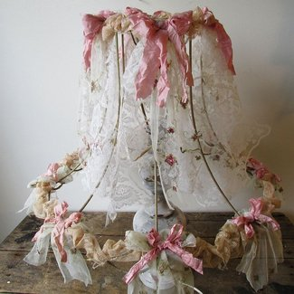 Ornate lampshade shabby cottage chic large lamp shade