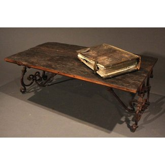 Ornate Wrought Iron and Wood Coffee Table at 1stdibs