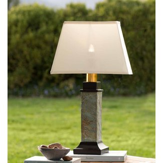 Outdoor Slate Table Lamp with Removable Battery-Operated ...