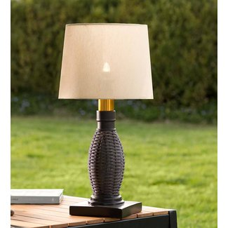 Outdoor Wicker Table Lamp with Removable Battery-Operated ...