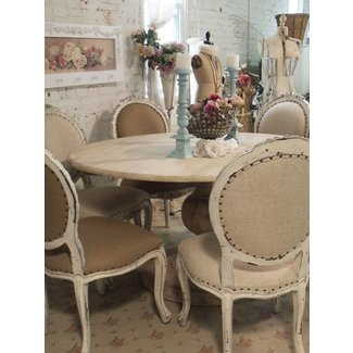 Painted Cottage Chic Shabby French Linen Round Dining ...
