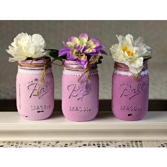 Painted Distressed Mason Jars Shabby Chic Cottage Chic by ...