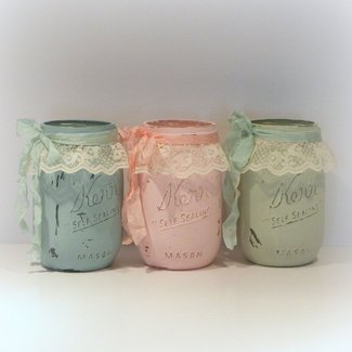 Painted Mason Jars Shabby Chic JarsShabby by uniqueboxboutique