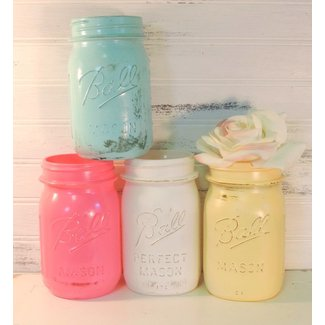 Painted Pastel Mason Jars, Shabby Cottage Chic Set of 4