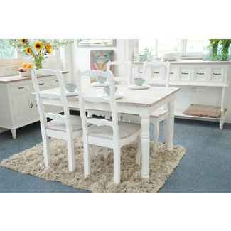 Painted Shabby Chic French Kitchen Dining Table Set With 4