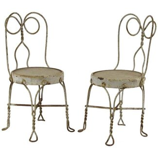 Pair of Antique Children's Ice Cream Parlor Chairs at 1stdibs