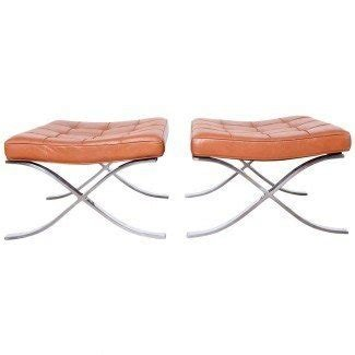 Pair of Barcelona Stools by Mies van der Rohe at