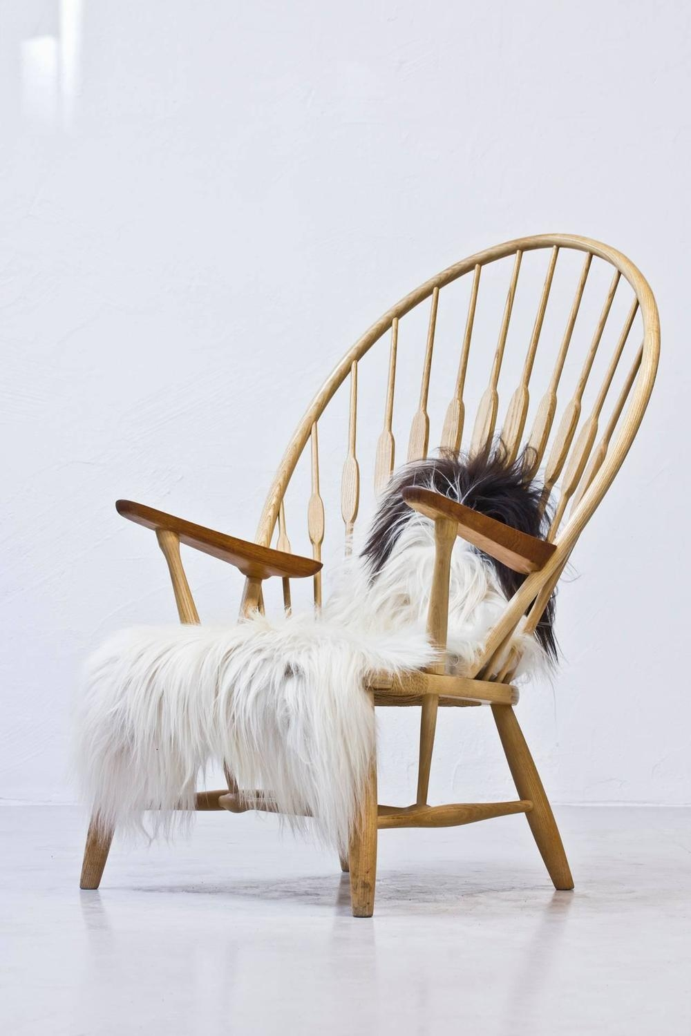 Peacock Chair With Sheepskin Throw By Hans J. Wegner For