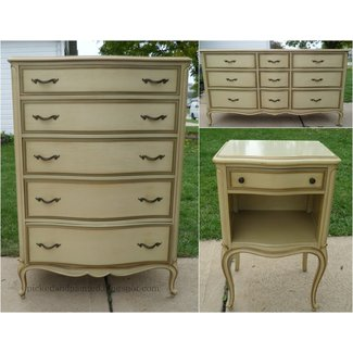 Picked Painted French Provincial Dresser Set Bedroom