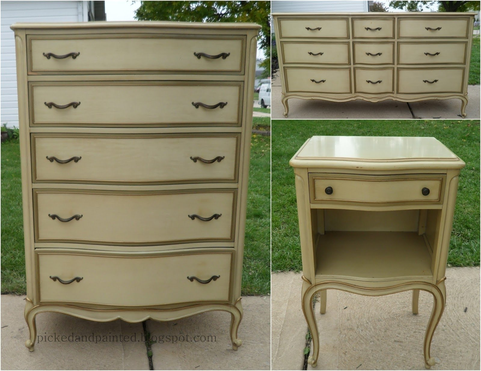 Picked Painted French Provincial Dresser Set | Bedroom .