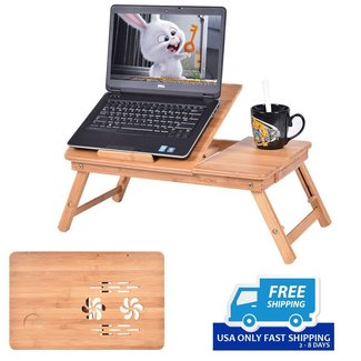 Portable Bamboo Laptop Desk Table Folding Breakfast Bed ...